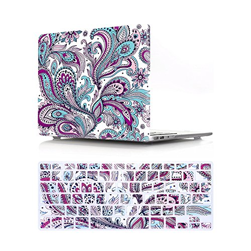 HRH 2 in 1 Paisley Seamless Purple Red Flower Laptop Body Shell PC Hard Case Cover Silicone Keyboard Cover for MacBook Pro 13.3