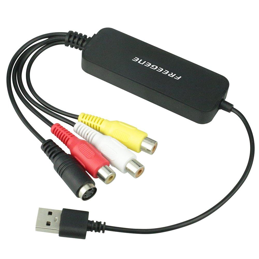 FREEGENE Video Capture Converter,Capture Analog Video to Digital,USB 2.0 Video Audio Capture Card,VHS to DVD Converter Digital Video Grabber Devices for Windows and Mac (Video Capture Converter)