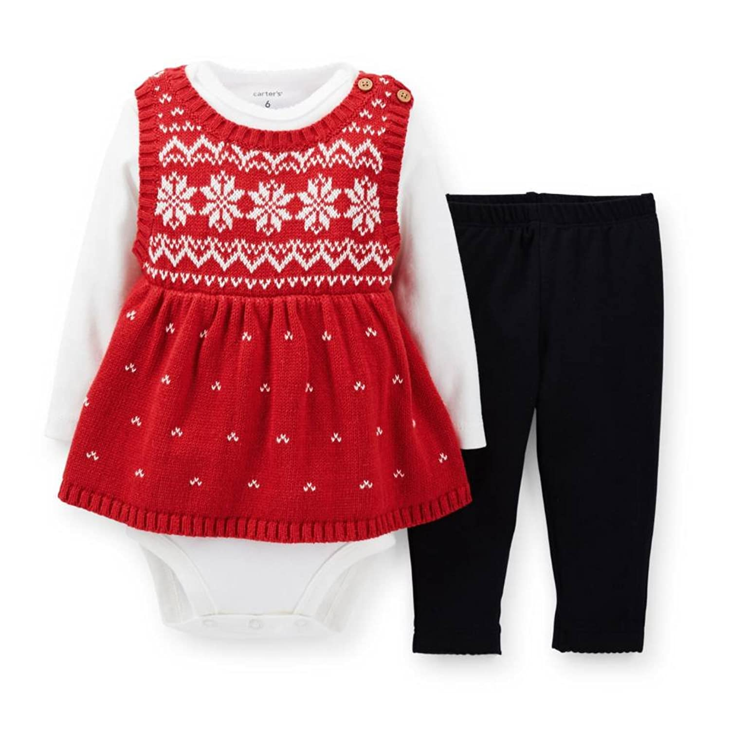 Amazon Carters Infant Girls Red Knit Snowflake Sweater Shirt