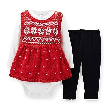 61d5e2271 Amazon.com  Carter s Infant Girls Red Knit Snowflake Sweater Shirt ...
