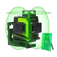 Niveau Laser Huepar GF360G 3 x 360, laser en croix multiligne vert professionnel, Zone de travail de 45m, Auto-nivelant commutable Une ligne horizontale à 360° et deux lignes verticales à 360°, Avec support magnétique et sac de transport