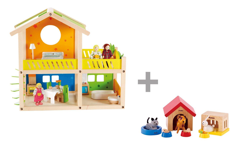 Hape Maison poupées avec Meubles, Famille et Animaux