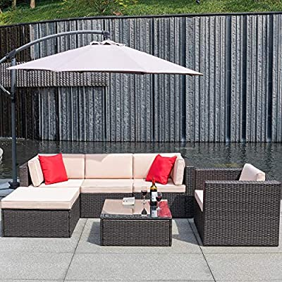 Flamaker 6 Pieces Patio Furniture Set Outdoor Sectional Sofa Outdoor Furniture Set Patio Sofa Set Conversation Set with Cushion and Table (Beige) - 【Sturdy & Durable】The structure of this set is made of coated steel frame, which has very strong load-bearing capacity. And the coating on the surface reduces the erosion of the frame by rain. 【Tough PE Rattans】Constructed from commercial grade hand woven weather-resistant PE rattan wicker. The combination of this kind of high- quality material, make this kind of sofa can withstand the test of time and sunshine completely. 【Adjustable Screws】There are adjustable screws on the table and chair. If your floor is slightly uneven, you can try adjusting the screws.It can help you fine-tune the height. - patio-furniture, patio, conversation-sets - 61Pb6uEJ%2BEL. SS400  -