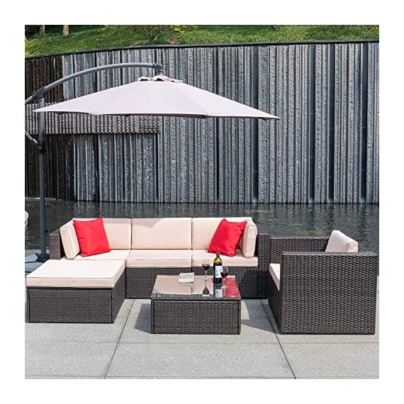 Flamaker 6 Pieces Patio Furniture Set Outdoor Sectional Sofa Outdoor Furniture Set Patio Sofa Set Conversation Set with Cushion and Table (Beige) - 【Sturdy & Durable】The structure of this set is made of coated steel frame, which has very strong load-bearing capacity. And the coating on the surface reduces the erosion of the frame by rain. 【Tough PE Rattans】Constructed from commercial grade hand woven weather-resistant PE rattan wicker. The combination of this kind of high- quality material, make this kind of sofa can withstand the test of time and sunshine completely. 【Adjustable Screws】There are adjustable screws on the table and chair. If your floor is slightly uneven, you can try adjusting the screws.It can help you fine-tune the height. - patio-furniture, patio, conversation-sets - 61Pb6uEJ%2BEL. SS570  -