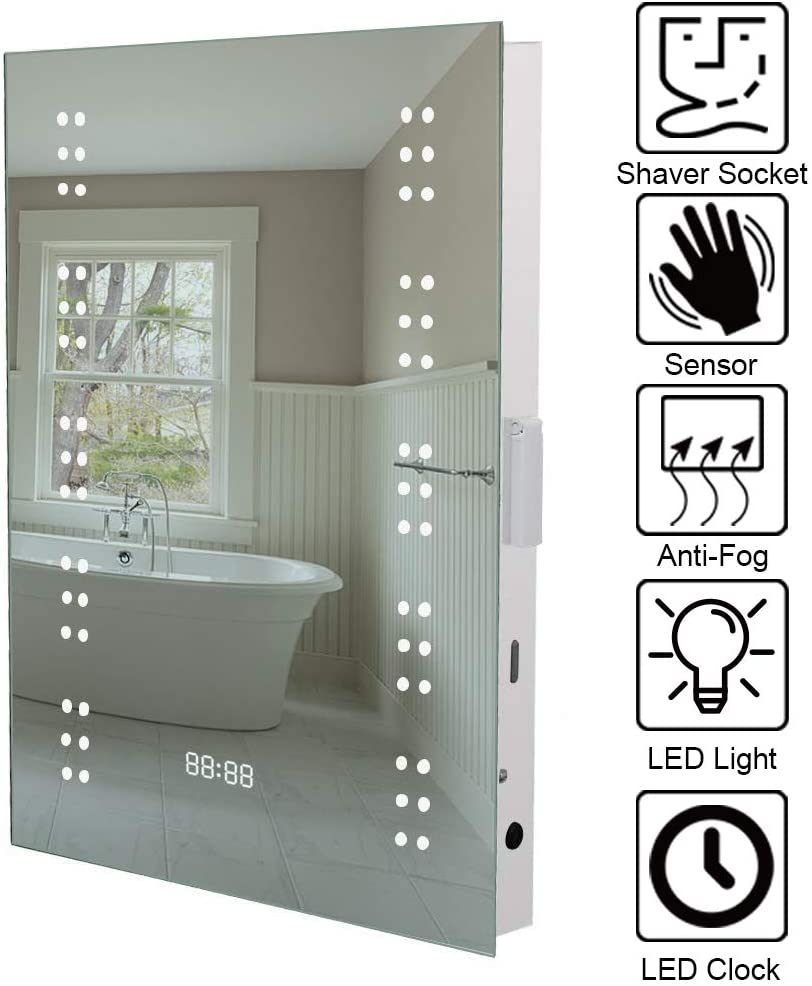 Warmiehomy Modern Illuminated Led Bathroom Mirror With Lights Shaver Socket Demister And Sensor Wall Mounted 70x50cm 700x500x53mm Amazon Co Uk Kitchen Home