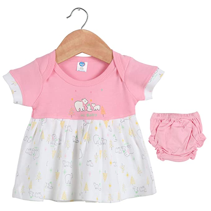 f7bb105353c86d Toonyport Infant Animal Print Girls Frock Pink Dress 100% Cotton Fabric Baby  Casual Wear Size-S Age-0-6 Months: Amazon.in: Clothing & Accessories
