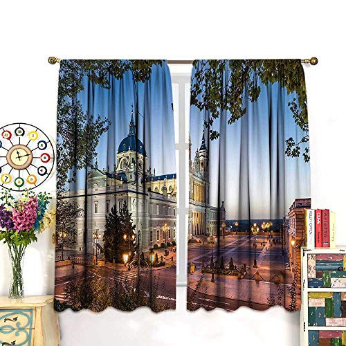 DESPKON European Cityscape Decor Curtains Old Cathedral and Royal Palace in Madrid 90% Light Blocking CurtainsBedroom Window Drapes 2 Panel Set,63 W X 63 L Inches, Brown Orange
