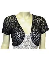 Alivila.Y Fashion Womens Mesh Sequins Short Sleeve Bolero Shrug Jacket For Mother's Day Gifts