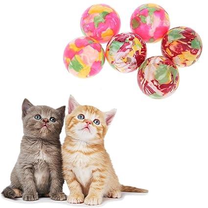 Everpert 6 pelotas de masticar para gatos y mascotas, resistentes a los ácaros, juguetes