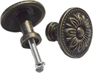 8 Pcs Round Bronze Knobs Antique Drawer Handles Vintage Decorative Floral Pulls Single Hole for Cabinet Cupboard Dresser Wooden Case Jewelry Box Chest (Dia:1-1/4