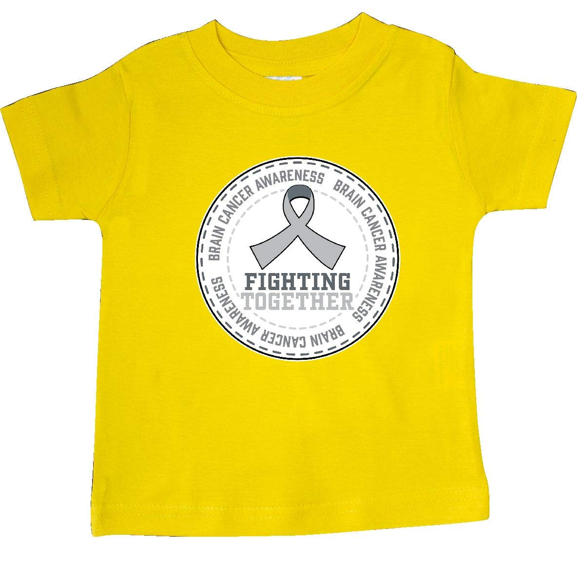 inktastic Fighting Together Brain Cancer Awareness Gray Ribbon Baby T-Shirt