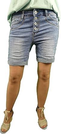 Jewelly by Lexxury Pantalones vaqueros cortos para mujer, en clásico lavado de vaqueros, pantalones vaqueros cortos, con tira decorativa de botones, ...