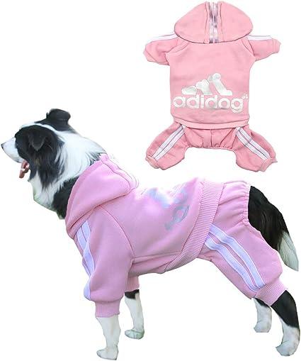 Adidog Dog Hoodies,Rdc Pet Clothes,Fleece Basic Hoodie Warm Sweater,4 Legs Cotton Jacket Sweat Shirt Coat for Small Dog Medium Dog Cat XS, Red