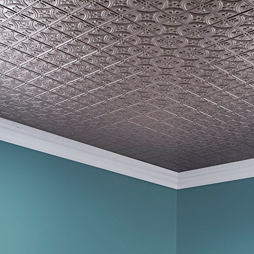 Fasade Easy Installation Traditional 1 Brushed Nickel Glue Up Ceiling Tile / Ceiling Panel (2' x 4' Panel) by FASÄDE (Image #3)