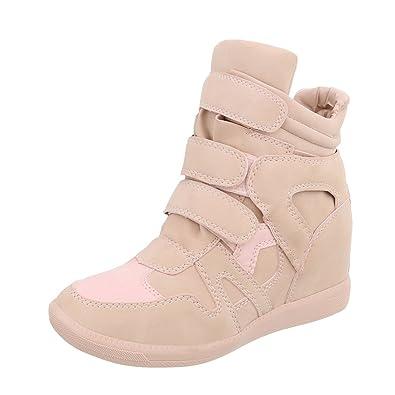 eba5b8d020 Ital-Design Sneakers High Damen-Schuhe Sneakers High Keilabsatz/Wedge  Sneakers Klettverschluss Freizeitschuhe
