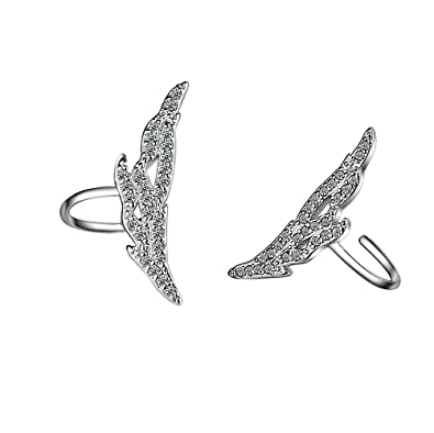 9ba949d95 Image Unavailable. Image not available for. Color: megko Women's Silver Ear  Cuffs Wrap Clip Wings Shape Earrings for Non-Pierced Ears