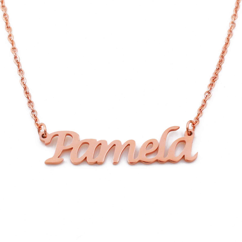 18ct Rose Gold Plated Kigu Pamela Custom Name Necklace Personalized