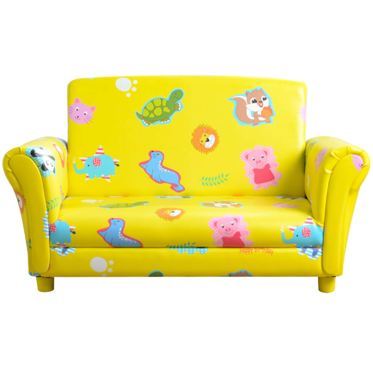 Classical Kids Upholstered Chair and Kids loveseat Sofa and Kids couches and Sofas, with Wooden Frame,Soft Foam and ECO-Friendly PVC Made,for Children and Toddlers Room(Yellow)