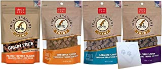 product image for Cloud Star Tricky Trainers Grain-Free Variety Pack – Four Total Flavors: Peanut Butter, Liver, Cheese, and Salmon Plus Pet Paws Notepad (5oz Each, 20oz Total)