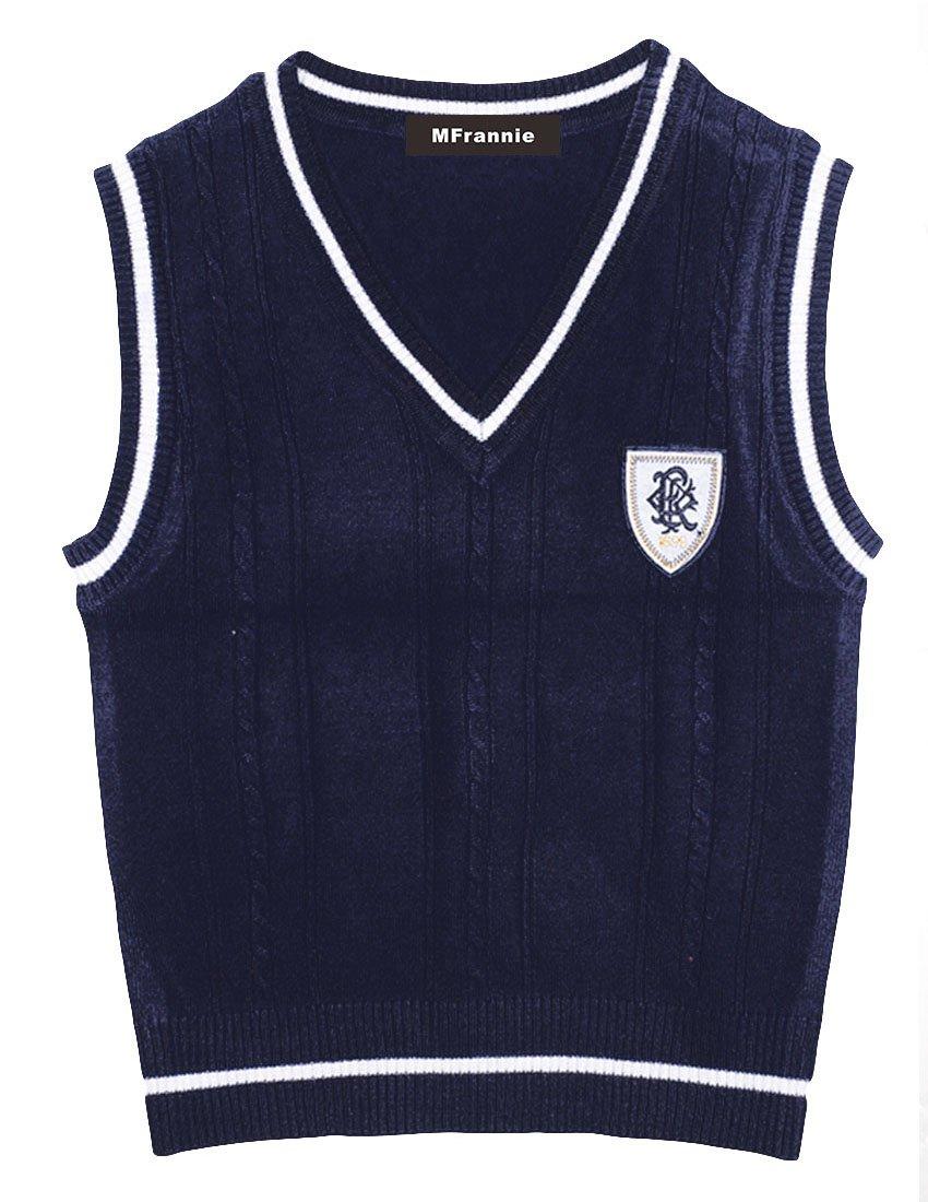 MFrannie Boys V Neck Badge Stripe School Uniform Vest Knitted Sweater 10-11T