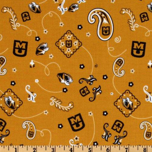 Collegiate Cotton Broadcloth University of Missouri Bandana Gold Fabric ()