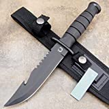 10.5″ TACTICAL BOWIE SURVIVAL HUNTING KNIFE MILITARY Combat Fixed Blade + SHEATH For Sale