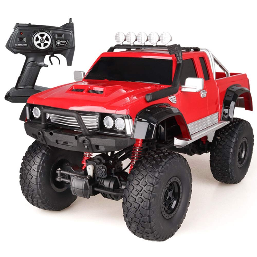 Kikioo 1 8Wireless Remote Off Road Electric Large Size RC Truck High Speed Fightint Rock Crawler Crawlers Chariot 2.4Ghz Radio Control Four-Wheel Drive Vehicle Racing Car Toy 3 Years Old Up Kid Red