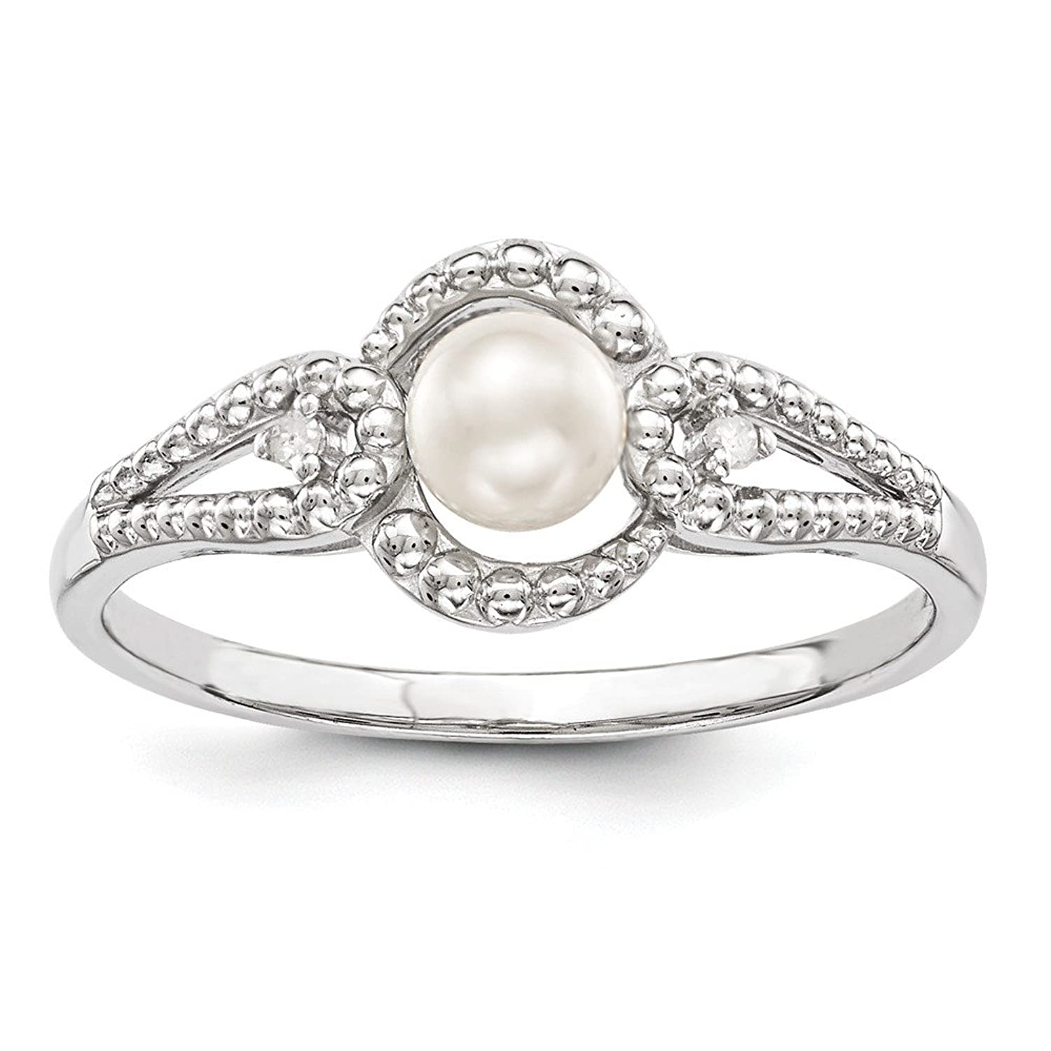 Sterling Silver Rhodium Plated Freshwater Cultured Pearl & Diamond Ring (Color H-I, Clarity SI2-I1)