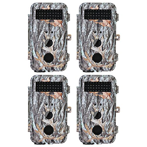 BlazeVideo 4-Pack 16MP No Glow Wildlife Video Camera for Hunting, Game Trail Cameras Motion Sensor Activated Waterproof Night Vision 40pcs IR LED & PIR, Video Record, Take Picture, 2.36'' LCD Screen by BlazeVideo