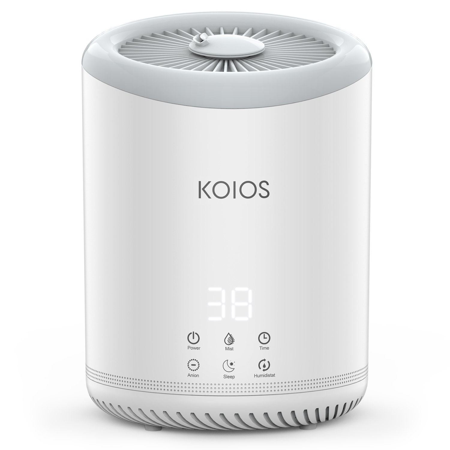 KOIOS Top Fill Humidifier - 4L/1.1Gallon Ultrasonic Cool Mist Humidifier with 3 Adjustable Mist settings, Open Water Tank, Easy to Clean, Timer, Sleep Mode for office bedroom baby room - White