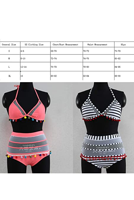 7600e1c2c2 Amazon.com: Timemory Womens High Waist Two Pieces Bikini Set Padded Stripe  Tassel Swimsuit: Clothing