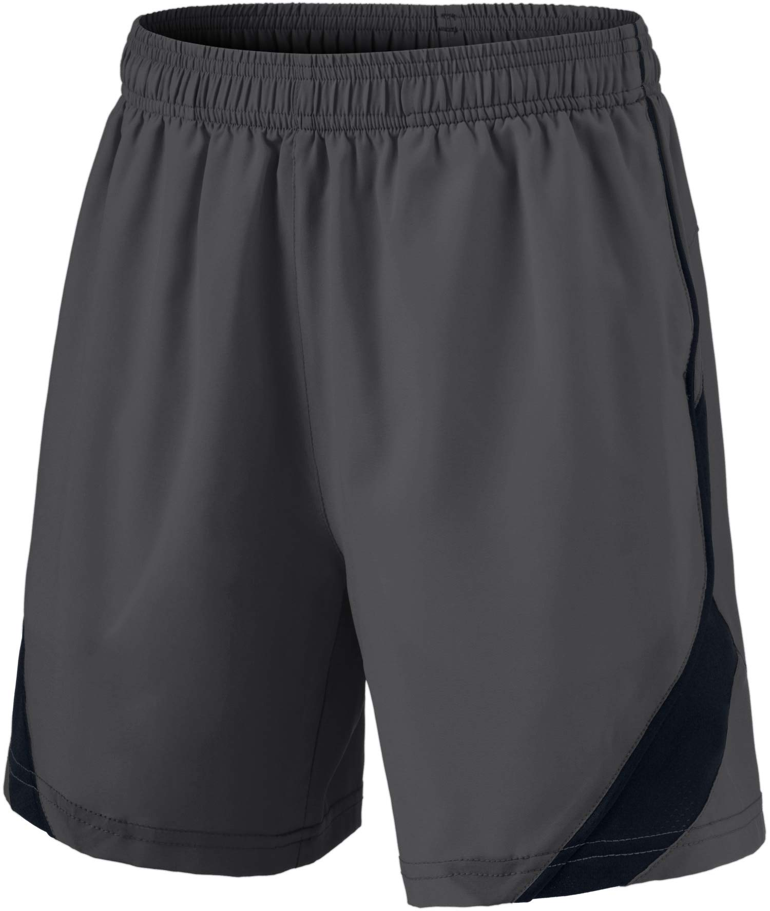TSLA Boy's Active Shorts Sports Performance Youth HyperDri II w Pockets, Stretch Pace(kbh76) - Dark Grey, Youth Large by TSLA