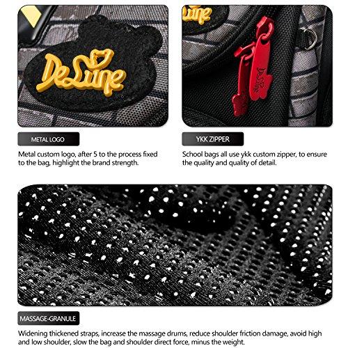Delune Folding School Backpack for Kids Waterproof Red Truck Bookbag for Boys by Delune (Image #9)