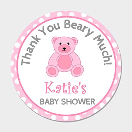 Amazon Com 40 Personalized Pink Teddy Bear Baby Shower Favor