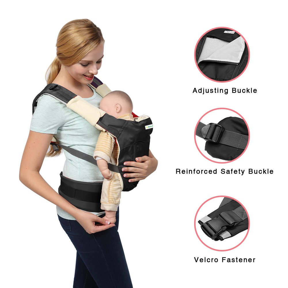Amazon.com : Baby Carrier with Protective Sleeping Hood, Rakuka Ergonomic Baby Soft Wrap Sling Front Back Carrier for Baby Infant Toddlers, Black : Baby