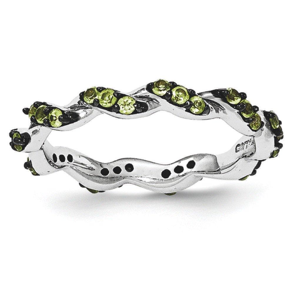 Sterling Silver Peridot Black Rhodium Eternity Ring - Size 7
