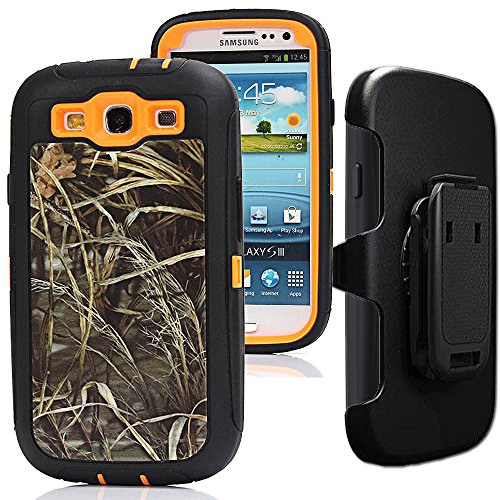 Samsung Galaxy S3 Case,S3 Holster Case,Auker 3 in 1 Shockproof Heavy Duty Natural Tree Camouflage Rugged Silicon Bumper Defender Protective Cover with Built-in Screen Protector/Belt Clip (Grass)
