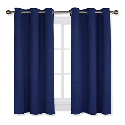 NICETOWN Navy Blue Blackout Draperies Curtains All Season Thermal Insulated Solid Grommet Top