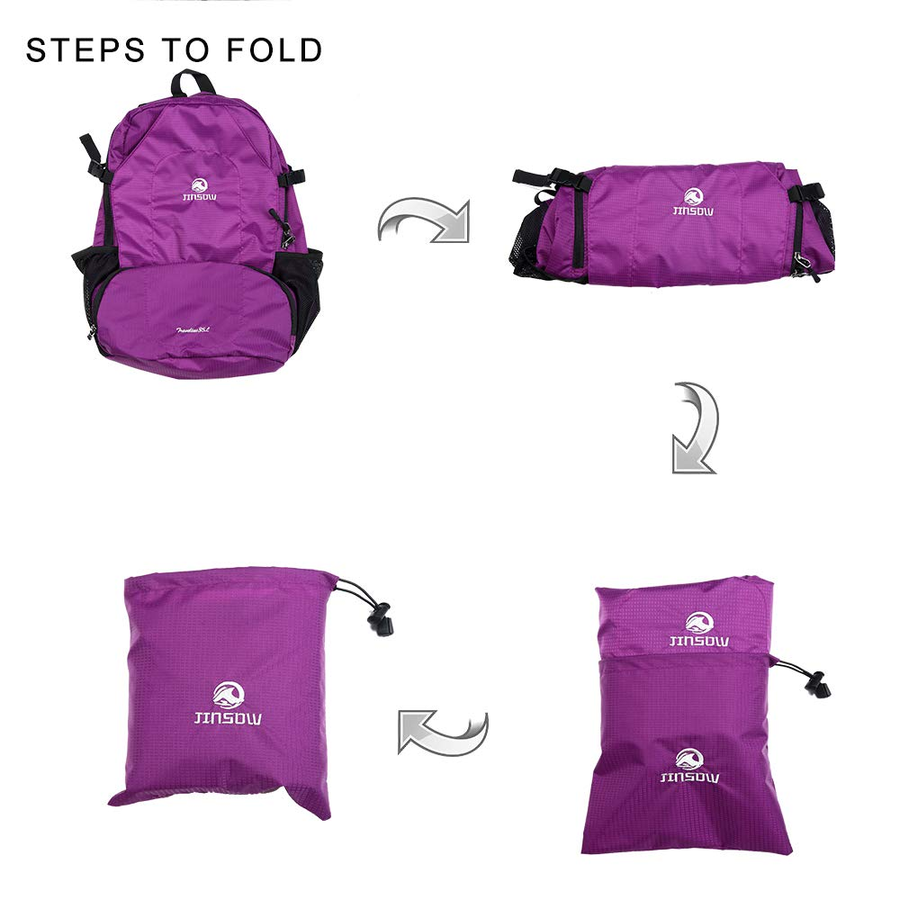 JINSOW 35L Lightweight Packable Hiking Backpack Daypack, Water Resistant Foldable Large Bags Travel Camping Outdoor Backpacks for Women Men Boys Girls Purple by JINSOW (Image #7)