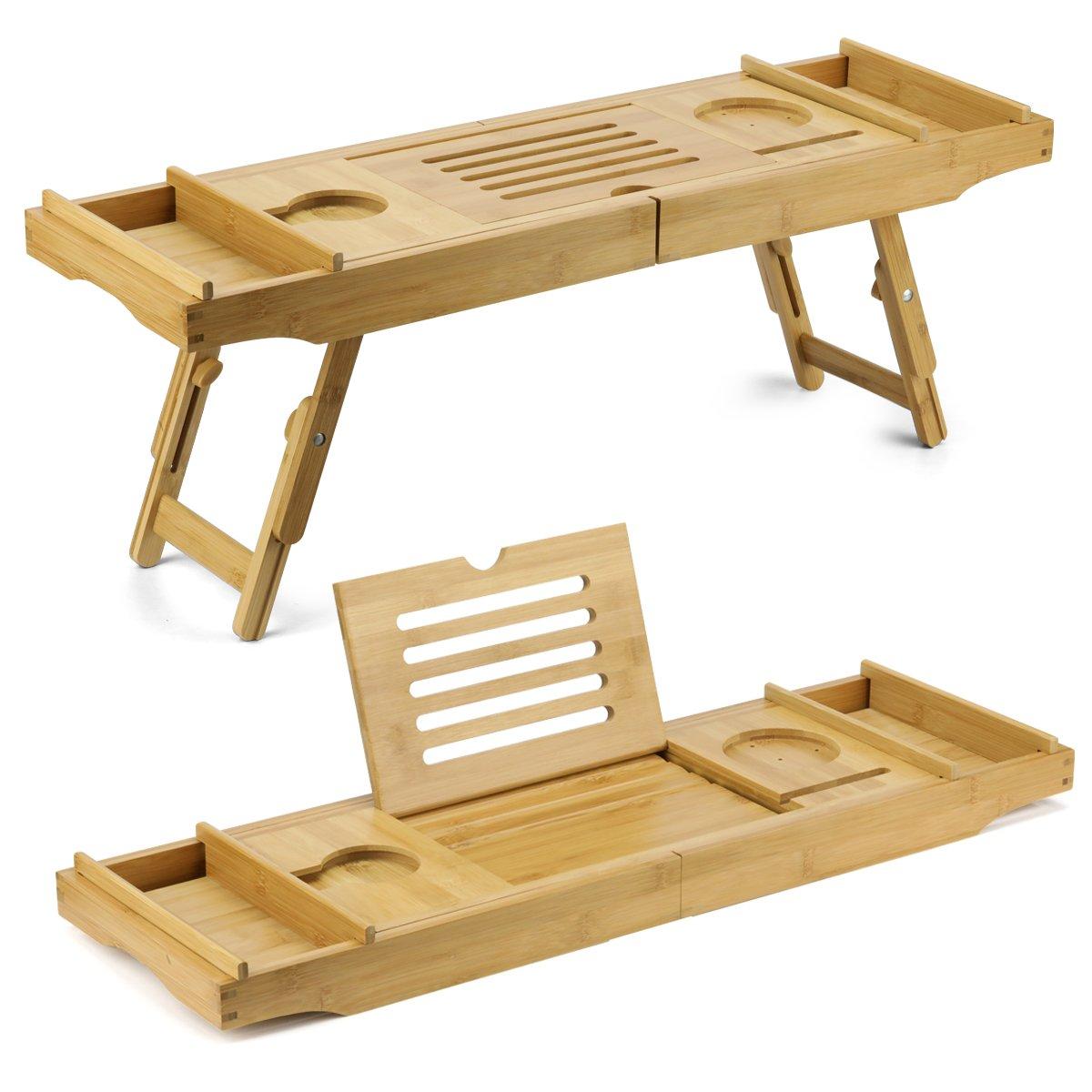 Duramont Bamboo Bathtub Caddy & Laptop Bed Desk – 2 In 1 Innovative ...