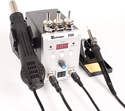 US 110V 2in1 Soldering ReWork Station SMD Solder Iron Hot Air Gun Silicone cable