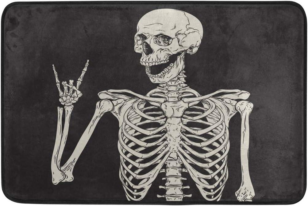 """Baofu Skull Doormats Bathroom Floor Mat Rock and Roll Skeleton Lightweight Non-Slip Area Rugs Halloween Decorative Entrance Front Door Rug for Outdoor Garden Kitchen Bedroom 23.6"""" x15.7"""""""