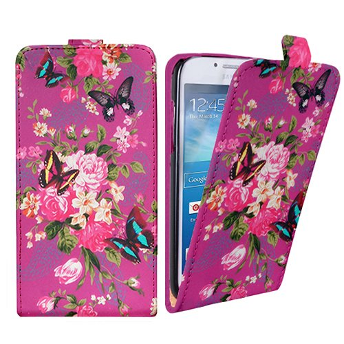 Xtra-Funky Case Compatible with Samsung Galaxy Ace 2 (i8160), Leather Flip Style Wallet Cover with Beautiful Stylish Purple Flower Floral & Butterflies Designs - Design B30 (Samsung Galaxy Ace 2 I8160 Case)