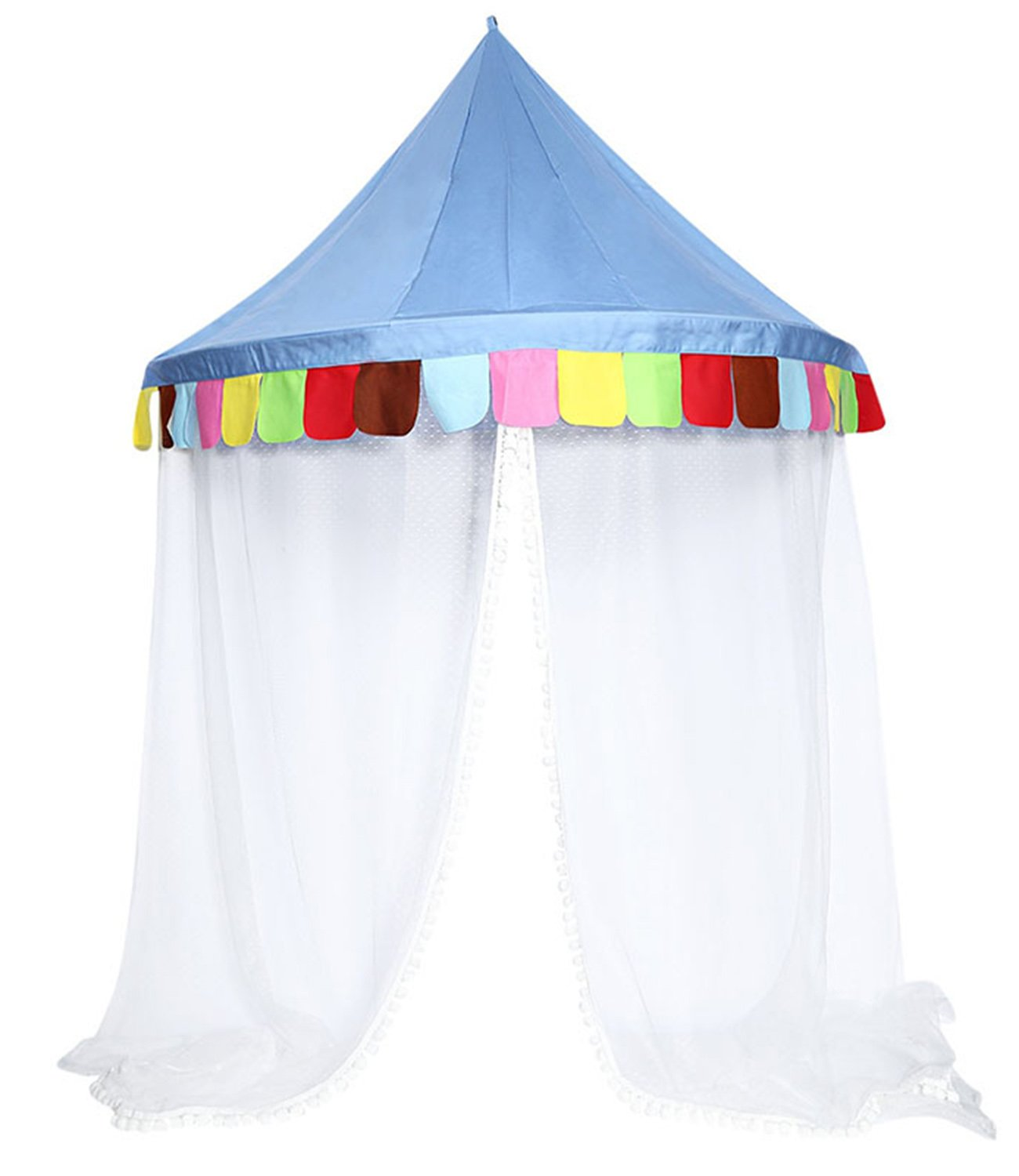 DANCHEL Bed Canopy Kids Play Tent Mosquito Net for Children's Reading Toy Area(Free Non-Trace Nail)(Blue,L)