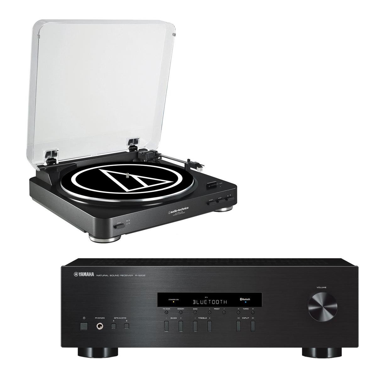 Yamaha R-S202 Bluetooth Stereo Receiver with Audio Technica AT-LP60-USB USB & Analog Stereo Turntable (Black)