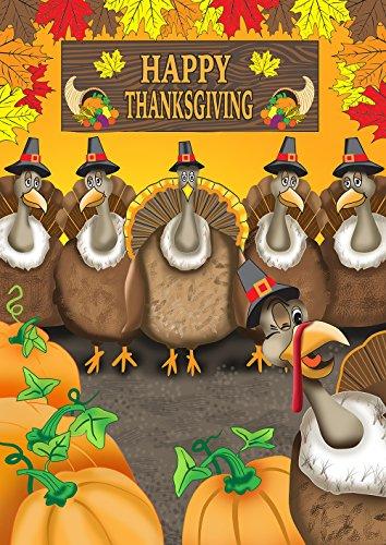 Toland Home Garden Turkey Photobomb 28 x 40 Inch Decorative Funny Happy Thanksgiving Bird House Flag