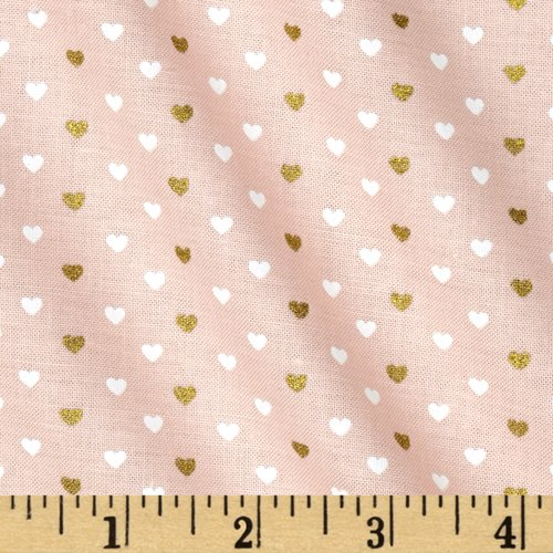(Michael Miller Wee Sparkle Metallic Heart Sprinkles Confection Fabric by The Yard)