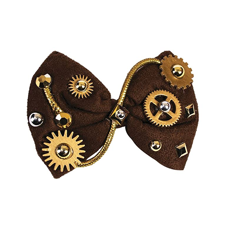 Men's Steampunk Costume Essentials Steampunk Bowtie Brown Bow Tie Victorian Industrial Gears Gems Costume Accessory $6.74 AT vintagedancer.com