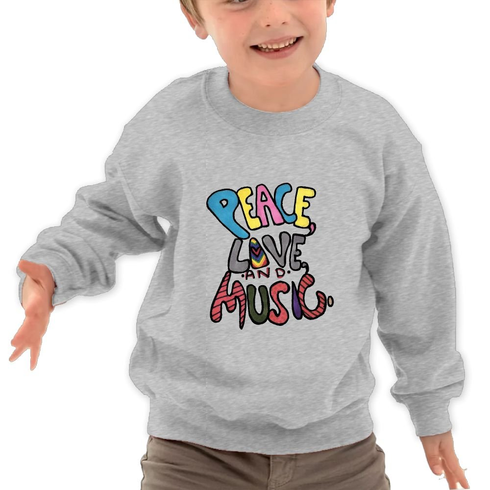 Mkajkkok Peace Love and Music Its Everyday Bro Kids Fashion Round Neck Long Sleeve T-Shirts