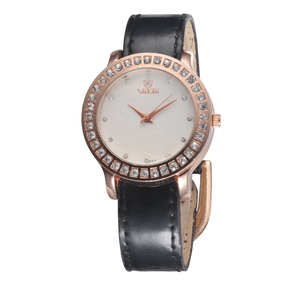 Amazon.com: Modern Fashion Distinctive Diamond-studded Rose Ladies quartz Wrist Watches Gift Black: Watches